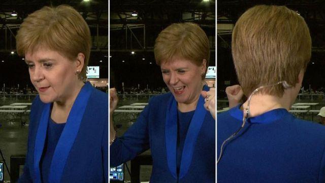 Nicola Sturgeon celebrates Jo Swinson defeat