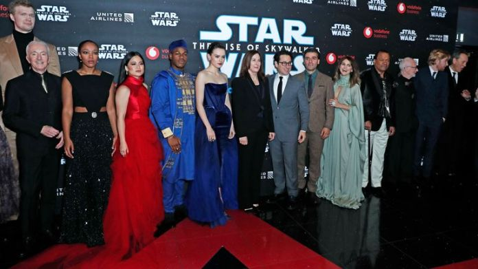 The cast of the new Star Wars movie at attend the European Premiere of Star Wars: The Rise of Skywalker