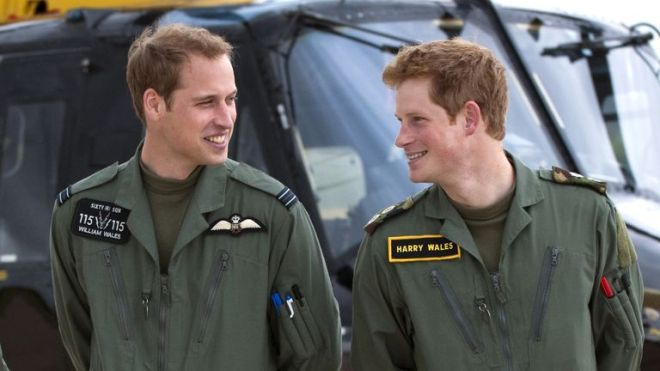 Prince William And Prince Harry At His Military Helicopter Training Course Based At Raf Shawbury, Shrewsbury. (Photo by Antony Jones/UK Press via Getty Images)