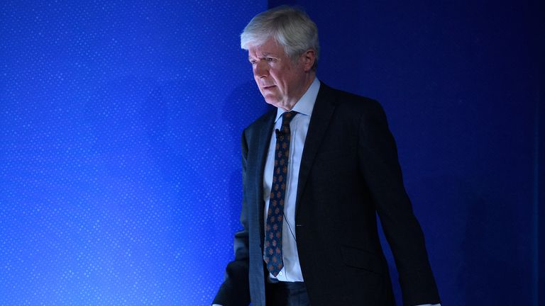 LONDON, ENGLAND - JULY 11: Director General of the BBC Tony Hall walks onstage during day two of the Global Conference on Press Freedom on July 11, 2019 in London, England. The conference sees speakers from around the world sharing their experiences and thoughts on protecting the rights of members of the media around the world. (Photo by Leon Neal/Getty Images)