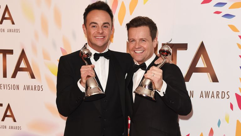 Ant and Dec hold up their awards after winning best presenter at the NTAs