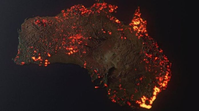 A 3D visualisation of the fires in Australia. Pic: Anthony Hearsey