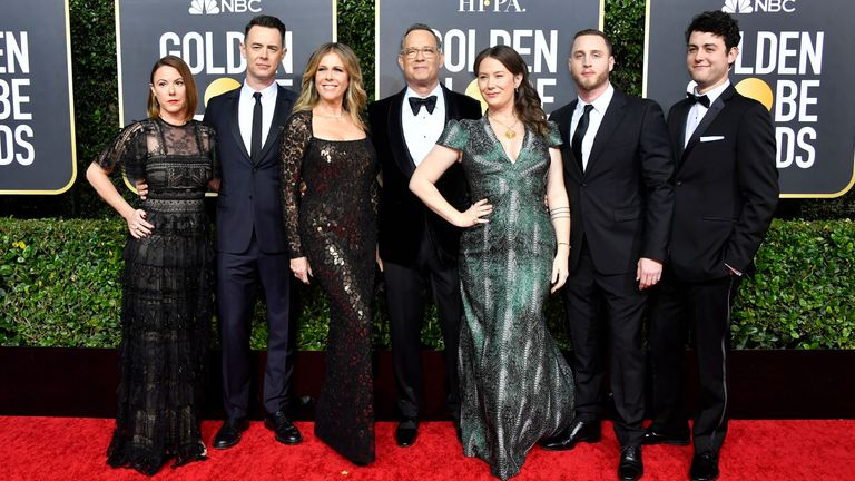 Tom Hanks and his family at the Golden Globes 2020