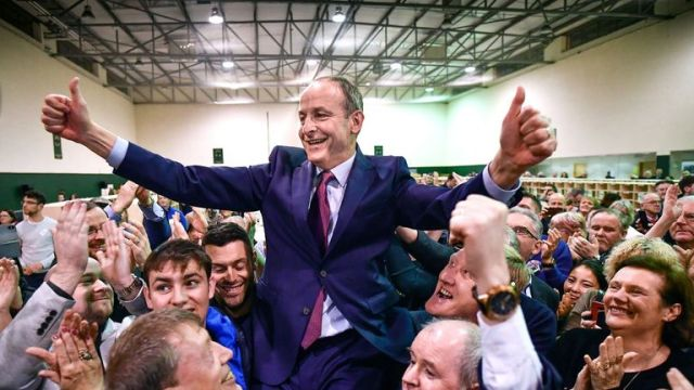 VARIOUS CITIES, IRELAND - FEBRUARY 09: Micheal Martin of Fianna Fail reacts to being elected to the 33rd Dáil at the Irish General Election count for the Cork South-Central constituency at Nemo Rangers GAA on February 9, 2020 in Cork, Ireland. Ireland has gone to the polls following Taoiseach Leo Varadkar's decision to call a snap election. In the last general election, no party came close to a majority and it took 10 weeks of negotiations to form a government with Varadkar's party Fine Gael eventually forming a coalition with Fianna Fail. Sinn Fein and their leader Mary Lou McDonald have made a late surge and could become the largest party according to the latest opinion polls. In order to win an outright majority and govern alone, parties need to win 80 seats - many political experts have predicted another hung parliament with exit polls showing the three main parties deadlocked. (Photo by Jeff J Mitchell/Getty Images)
