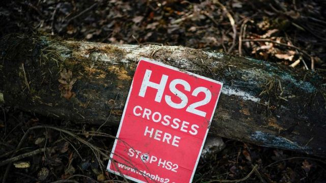 LEAMINGTON SPA, ENGLAND - JANUARY 28: An anti-HS2 sign sits in the ancient South Cubbington Wood which will be part felled to make way for the HS2 line on January 28, 2020 in Leamington Spa, England. The Prime Minister is due to announce whether the HS2 rail project will go ahead within the next two weeks as costs for the project have more than doubled. (Photo by Christopher Furlong/Getty Images)