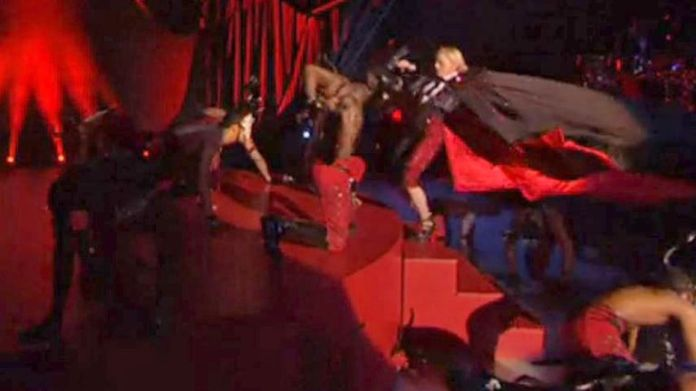 Madonna falling from the stage in 2015. Photo: Shutterstock