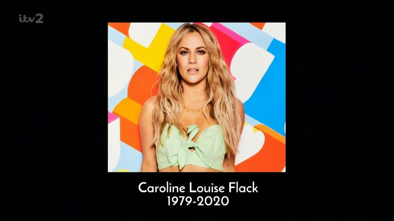 Love Island paid tribute to Flack at the start of Monday's show. Pic: ITV2