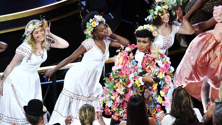 Janelle Monae highlighted #OscarsSoWhite, a theme that ran through the event