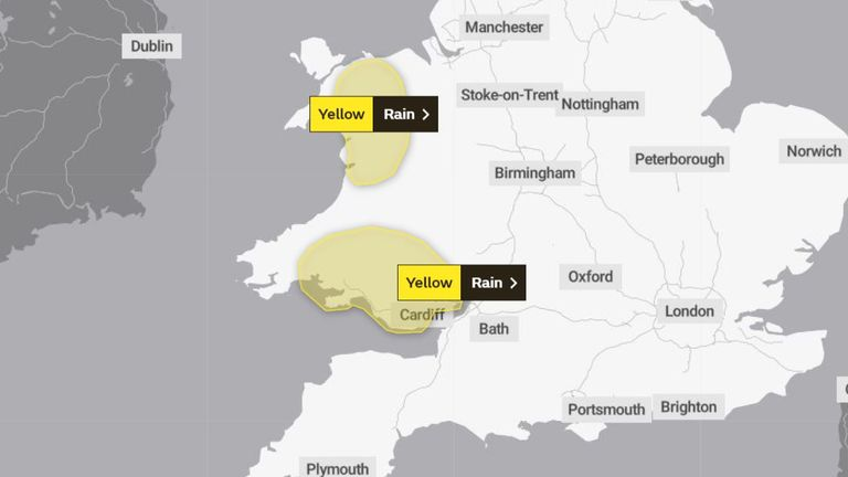 Yellow warnings for rain are in place in Wales from 6pm on Wednesday to 3pm on Thursday. Pic: Met Office