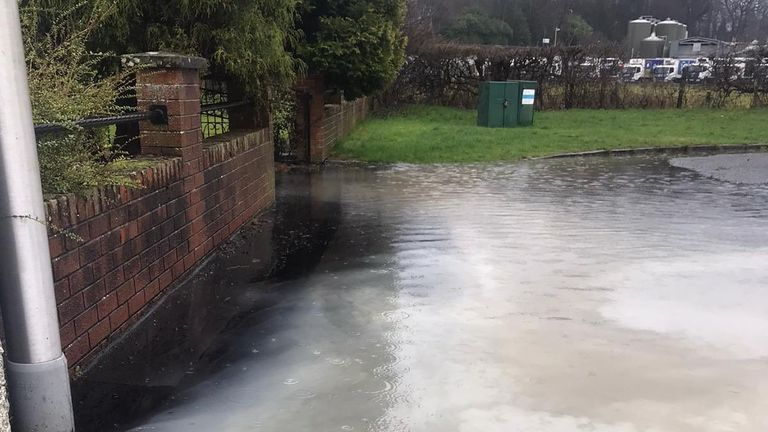 Heavy rain is mixed with milk after a dairy flooded in Stirling. Pic: Twitter/ Fior_Training