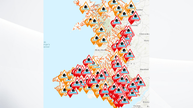 Wales has dozens of warnings and alerts in place. Pic: Natural Resources Wales