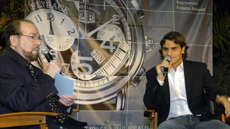 """Roger Federer, the world's #1 male ranked tennis player from Oberwil, Switzerland went one-on-one with James Lipton, host of """"Inside The Actors Studio"""" at the Brickell Tennis Club in Miami, Florida on March 23, 2005.  Federer, an ambassador of Maurice Lacroix Swiss Watches answered questions by Lipton then played some tennis with invited guests. (Photo by Bob Riha Jr/WireImage)"""