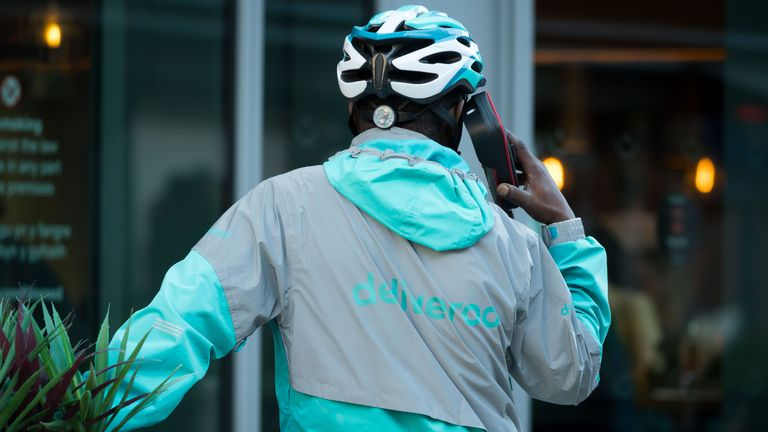 CARDIFF, UNITED KINGDOM - MAY 21: A Deliveroo worker on May 21, 2019 in Cardiff, United Kingdom. (Photo by Matthew Horwood/Getty Images)