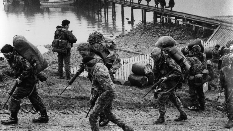 British troops going into combat during the 1982 Falklands War