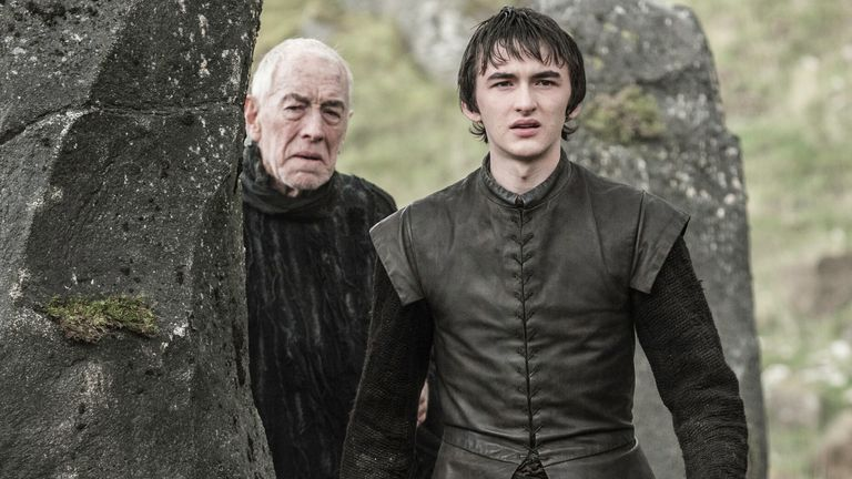 Isaac Hempstead Wright as Bran Stark, Max von Sydow as Three-Eyed Raven in Game Of Thrones. Pic: Sky/HBO/Helen Sloan