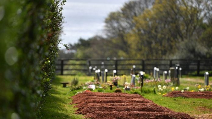 MAKER, ENGLAND - APRIL 14: Pre-dug graves for the dead of Covid-19 are seen at the Maker Cemetery on April 14, 2020 in Maker, England. The coronavirus pandemic (COVID-19) has spread to many countries around the world, killing more than 115,000 and infecting more than 1.9 million people. (Photo by Dan Mullan / Getty Images)