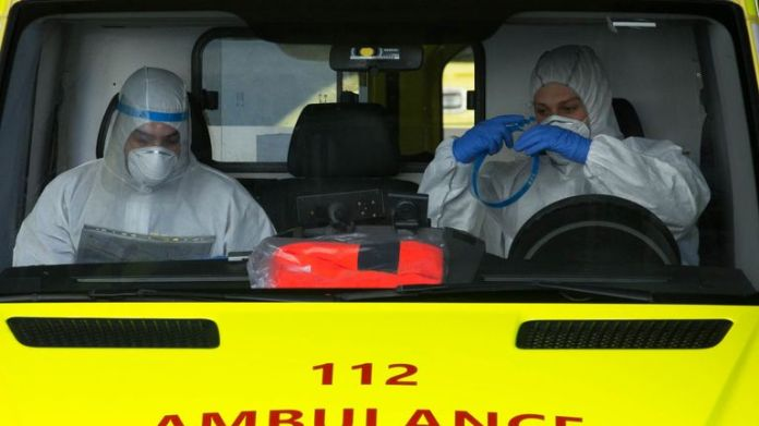 Emergency services get ready in an ambulance in Brussels