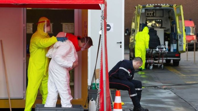 Firefighters follow disinfection procedures