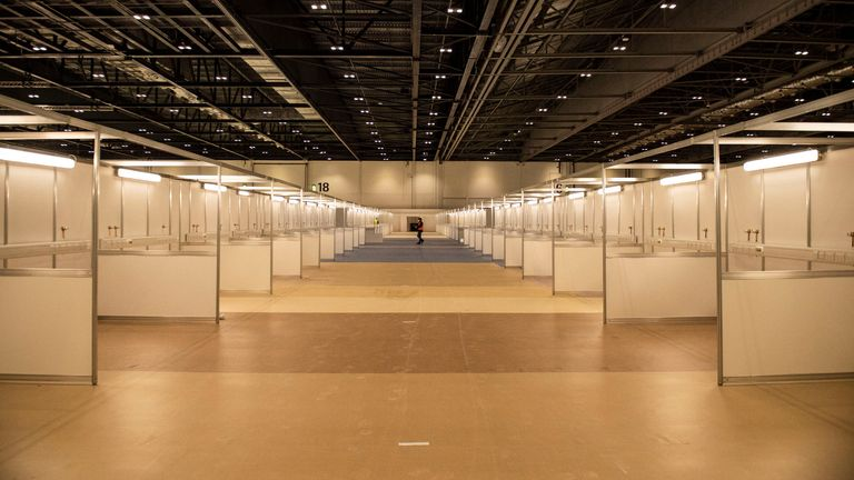 The new 4,000-bed temporary facility at the ExCel convention centre in east London. Pic: MoD