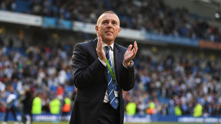 BRIGHTON, ENGLAND - APRIL 29: Brighton's CEO Paul Barber acknowledges the home support after the Sky Bet Championship match between Brighton & Hove Albion and Bristol City at Amex Stadium on April 29, 2017 in Brighton, England. (Photo by Mike Hewitt/Getty Images)