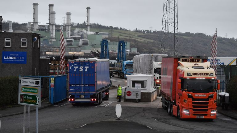 LARNE, NORTHERN IRELAND - NOVEMBER 14: Port officers inspect vehicles at a harbour checkpoint on November 14, 2018 in Larne, Northern Ireland. Prime Minister Theresa May is locked in talks with her cabinet as she attempts to push through an agreement between UK negotiators and their European Union counterparts relating to the United Kingdom's departure from the EU. The border between the Republic of Ireland and Northern Ireland has been a contentious issue during the Brexit talks. The harbour port of Larne has been suggested as a possible border entry checkpoint for agriculture livestock and goods to avoid a so called 'hard border'. (Photo by Charles McQuillan/Getty Images)