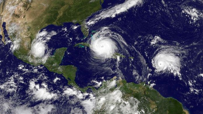 CARIBBEAN SEA - SEPTEMBER 8: In this image from the NASA / NOAA document, the NOAA GOES satellite shows Hurricane Irma (C) in the Caribbean Sea, tropical storm Jose (R) in the Atlantic Ocean and the Tropical storm Katia in the Gulf of Mexico taken at 3:45 pm UTC September 08, 2017. Hurricane Irma crossed the Turks and Caicos Islands as a Category 4 storm en route to a destructive encounter with Florida this weekend. (Photo by NASA / NOAA GOES project via Getty Images)