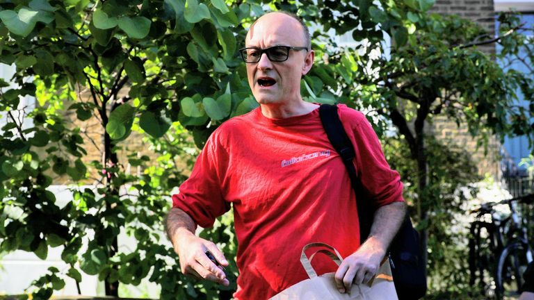 The prime minister's chief adviser gave no comment to waiting media as he departed his Islington home