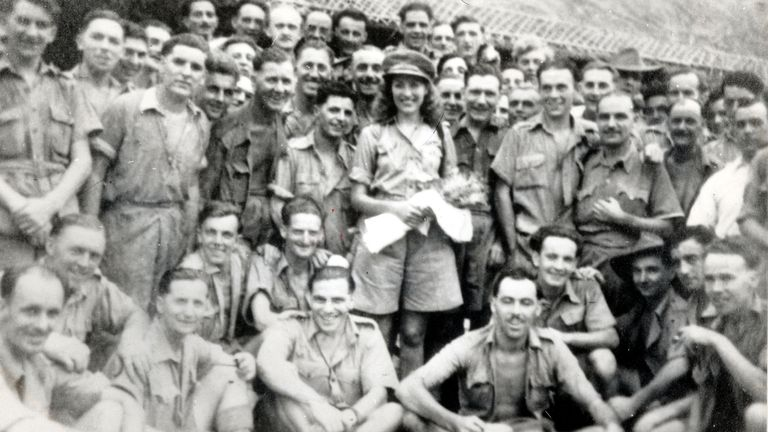 Mandatory Credit: Photo by Bill Lovelace/Daily Mail/Shutterstock (1059760a) .Vera Lynn (later Dame Vera Lynn) With British Servicemen In World War Ii. She Is Pictured With Troops In Burma In 1942 .Vera Lynn (later Dame Vera Lynn) With British Servicemen In World War Ii. She Is Pictured With Troops In Burma In 1942