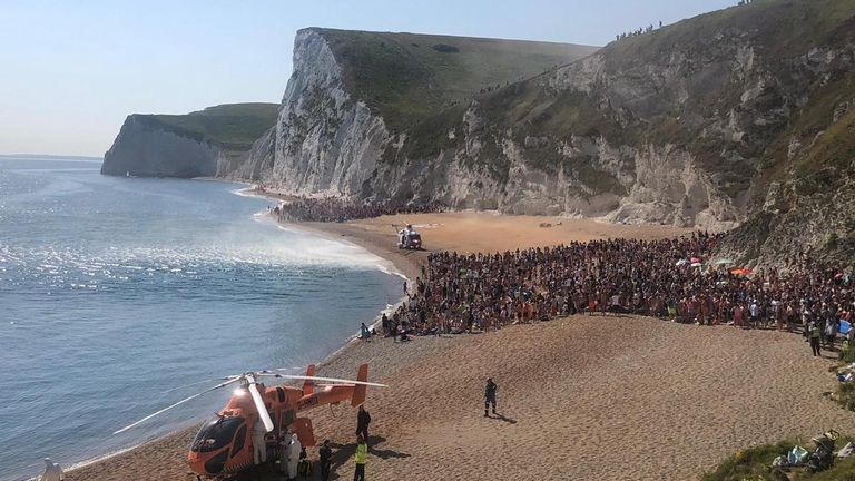 Crowds were told to leave the beach at Durdle Door. Pic: Purbeck Police