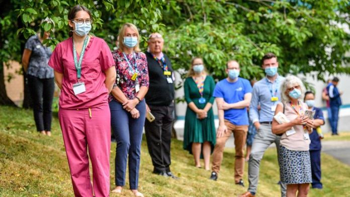 Hospital staff awaited the royals' arrival