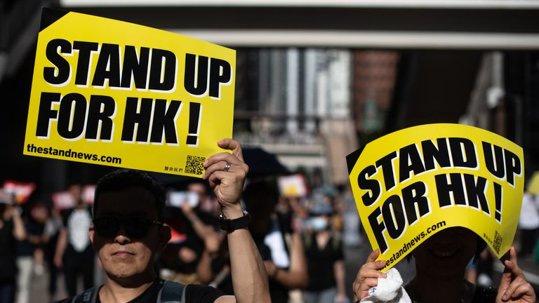 Protesters attend the annual pro-democracy rally in Hong Kong on July 1, 2019 on the 22nd anniversary of the city's handover from Britain to China. - The international financial hub has been shaken by historic demonstrations in the past three weeks, driven by demands for the withdrawal of a bill that would allow extraditions to the Chinese mainland. (Photo by Philip FONG / AFP)        (Photo credit should read PHILIP FONG/AFP via Getty Images)
