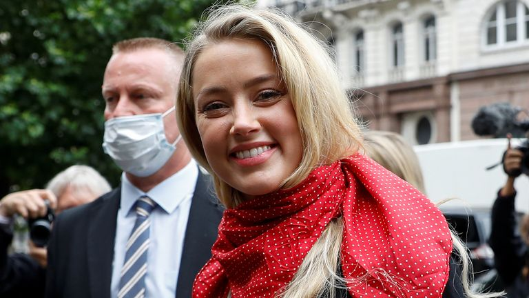 Actor Amber Heard arrives at the High Court in London, Britain July 8, 2020. REUTERS/Peter Nicholls