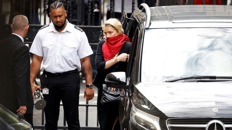Amber Heard arrives at the High Court on Monday July 13