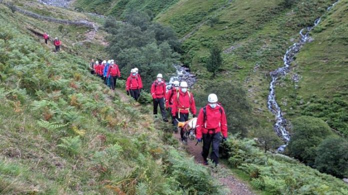 The rescue lasted five hours.  Pic: Wasdale Mountain Rescue Team