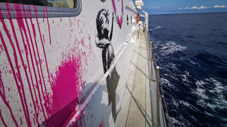 Undated handout photo issued by Louise Michel of a refugee rescue boat funded by British street artist Banksy.