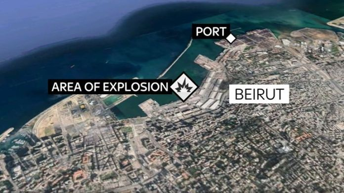 The map shows where the Lebanon explosion took place
