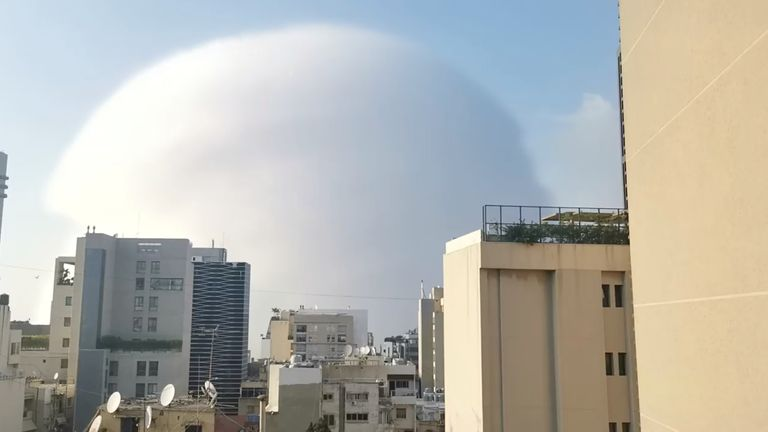 A shockwave during an explosion in Beirut. Pic: Karim Sokhn/Instagram/Ksokhn + Thebikekitchenbeirut