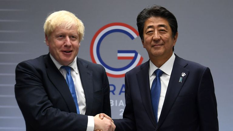 BIARRITZ, FRANCE - AUGUST 26: Britain's Prime Minister Boris Johnson (L) meets Japanese Prime Minister Shinzo Abe (R) for their bilateral talks during the G7 Summit on August 26, 2019 in Biarritz, France. The French southwestern seaside resort of Biarritz is hosting the 45th G7 summit from August 26 to 26. High on the agenda will be the climate emergency, the US-China trade war, Britain's departure from the EU, and emergency talks on the Amazon wildfire crisis. (Photo by Neil Hall - Pool/Getty I