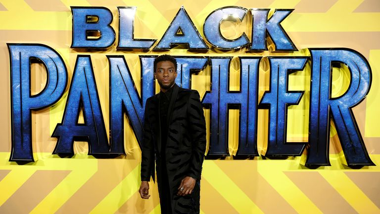 Chadwick Boseman arrives at the premiere of the new Marvel superhero film 'Black Panther' in London in 2018