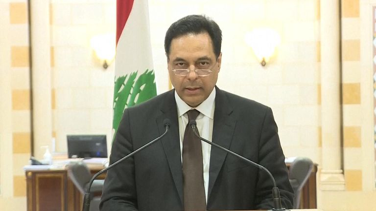 Lebanese prime minister Hassan Diab has announced the resignation of the government during a news conference