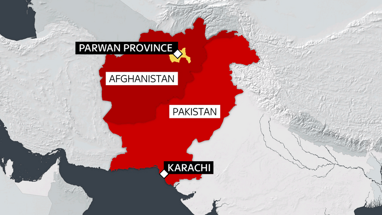 A map shows the areas of Afghanistan and Pakistan that have been impacted by severe flooding