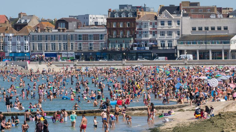 Crowds built up on Margate beach on Friday too as the UK is facing a three day heatwave