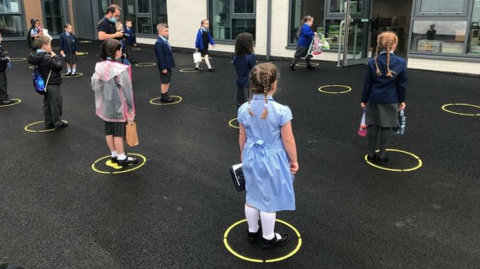 Upon arrival, each student at Tollbrae Primary School is invited to stand on the painted color in circles on the tarmac.