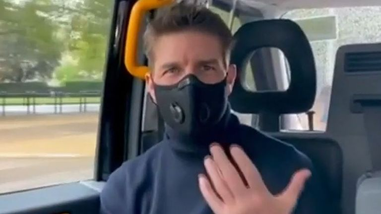 Tom Cruise takes a trip in a London taxi