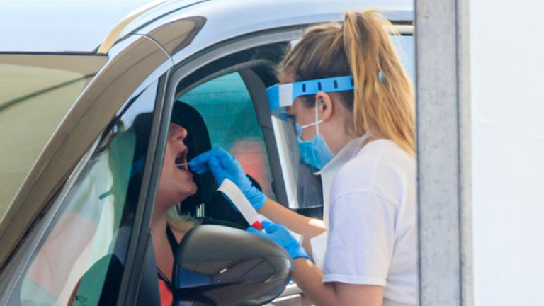 Samples are taken at a coronavirus testing facility in Temple Green Park and Ride, Leeds, as NHS Test and Trace - seen as key to easing the lockdown restrictions - is rolled out across England.