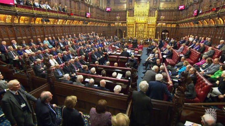 The House of Lords, London, this evening after MPs overturned House of Lords amendments to a Bill authorising Theresa May to commence Brexit negotiations.