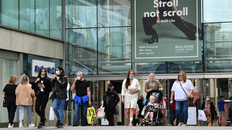 Shoppers outiside the Bullring shopping centre in Birmingham