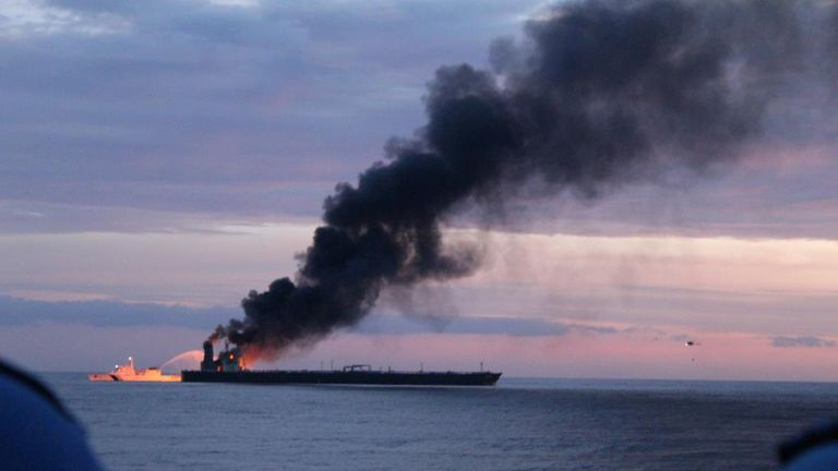 The New Diamond, a very large crude carrier (VLCC) chartered by Indian Oil Corp (IOC) that was carrying the equivalent of about 2 million barrels of oil, is seen after a fire broke out, off the east coast of Sri Lanka September 3, 2020. Picture taken September 3, 2020. Sri Lankan Navy media/Handout via REUTERS ATTENTION EDITORS - THIS IMAGE WAS PROVIDED BY A THIRD PARTY. NO RESALES. NO ARCHIVES.