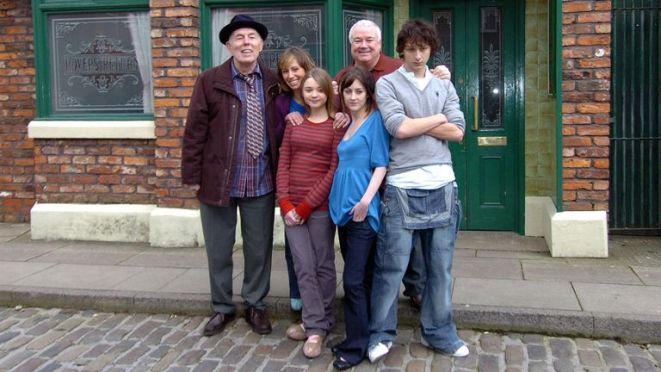 The 'Morton Family' are introduced to Coronation Street during a photocall at Granada Studios in Manchester (left-right) Grandad Morton (Rodney Litchfield), Jodie Morton (Samantha Seager), Jerry Morton (Michael Starkey), Darryl Morton (Jonathan Dixon), (Front) Kayleigh Morton (Jessica Barden) and Mel Morton (Emma Edmondson). Read less Picture by: Neil Jones/PA Archive/PA Images Date taken: 15-Feb-2007