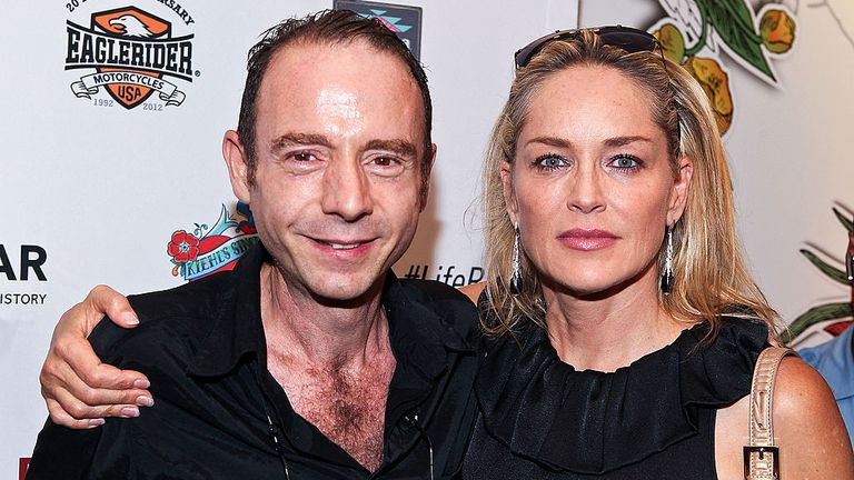Mr Brown with actress Sharon Stone at an AIDS charity event